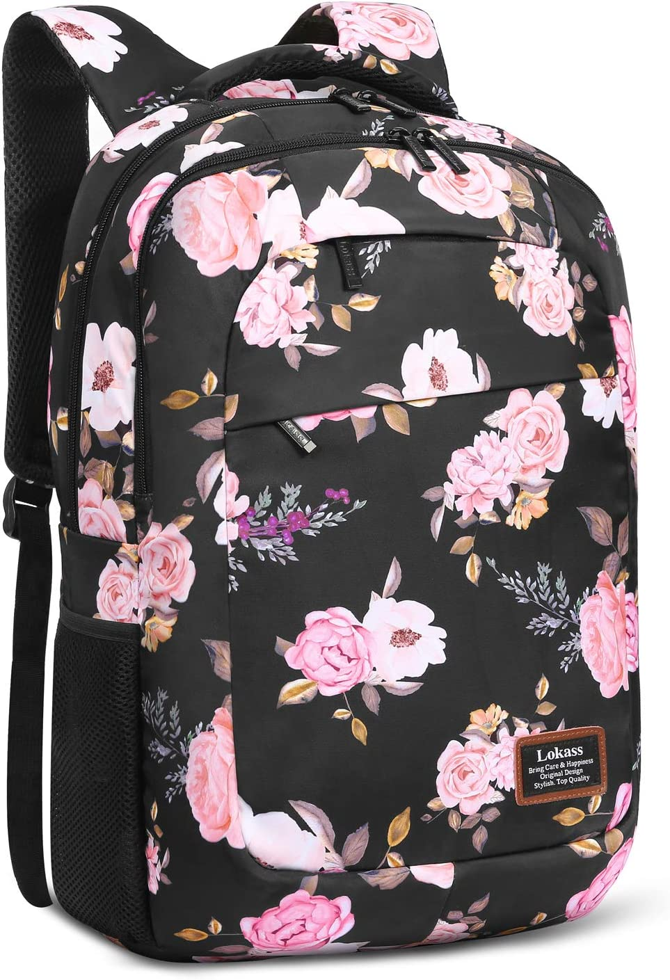 SOCKO Laptop Backpack for Women Lightweight College Backpack Floral Girls Backpack Hiking Backpack Water-resistant Rucksack for Women Peony Flower