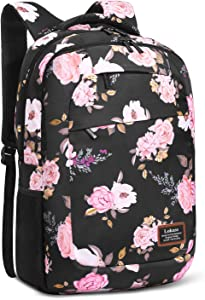 SOCKO Laptop Backpack for Women Lightweight CollegeBackpack Floral Girls Backpack Hiking Backpack Water-resistant Rucksack for Women (Peony Flower)