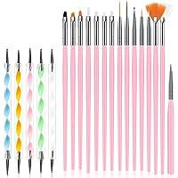 URAQT Nagelkunstborstelset, 15-delige acryl-nagelborstel-schilderpen en 5-delige nagelpuntengereedschap, Nagelpen…