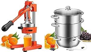 VIVOHOME Heavy Duty Commercial Manual Hand Press Citrus Orange Lemon Juicer Squeezer Machine Orange and 24cm 8.5Qt Stainless Steel Juice Steamer Extractor Fruit Vegetables Juicer Steamer Pot