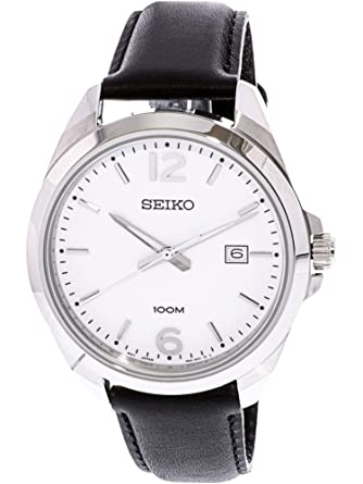 9f907a755 Amazon.com: Seiko Men's 42mm Black Leather Band Steel Case Hardlex ...