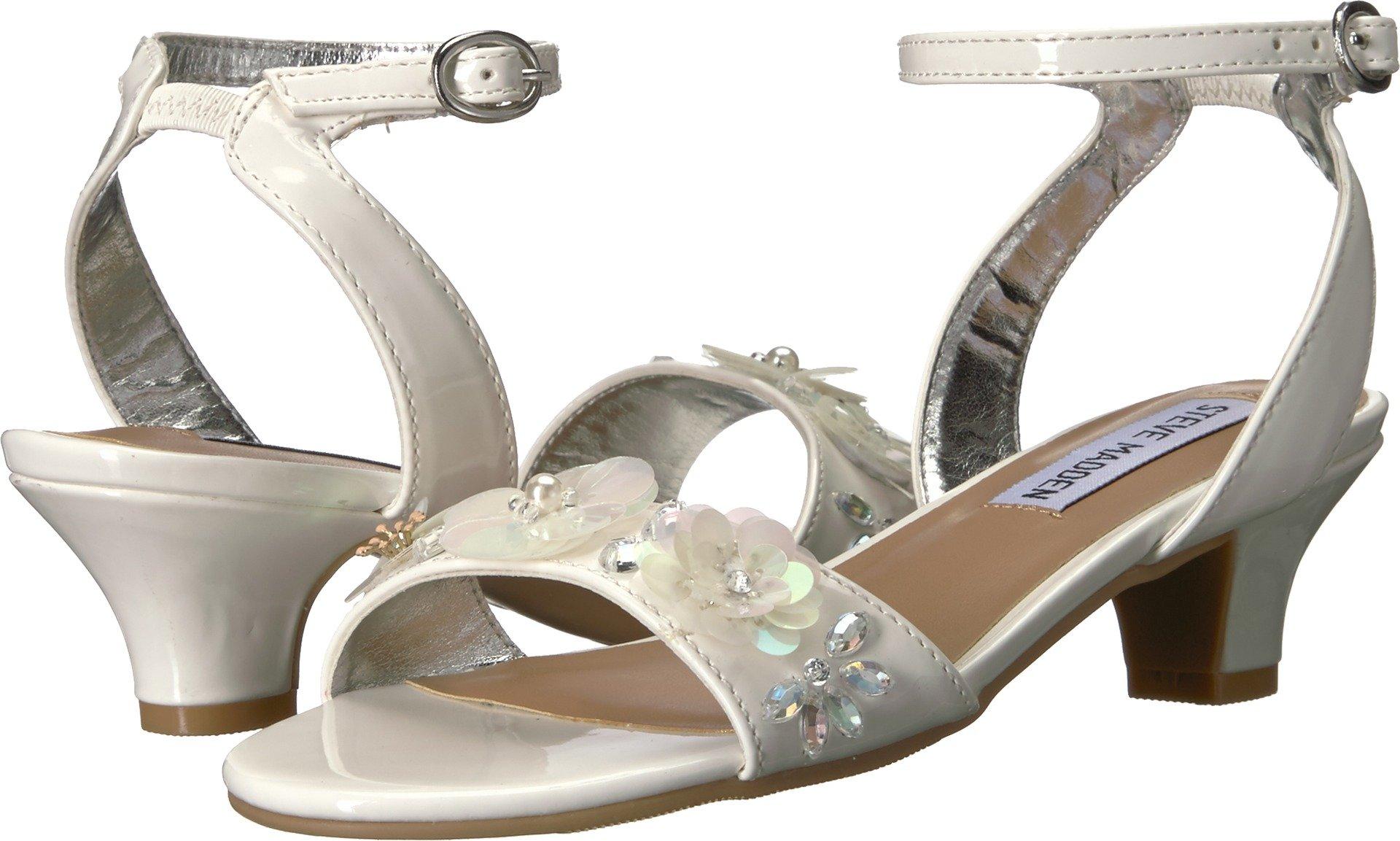Steve Madden Girls' Jcorsage Heeled Sandal, White, 5 M US Big Kid