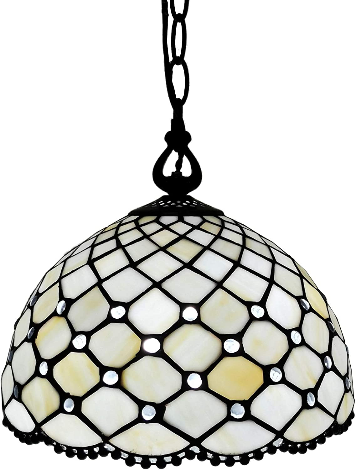 """Amora Lighting Tiffany Style Hanging Pendant Lamp Ceiling 12"""" Wide Stained Glass White Jeweled Antique Vintage Light Decor Restaurant Game Living Dining Room Kitchen Gift AM119HL12B"""