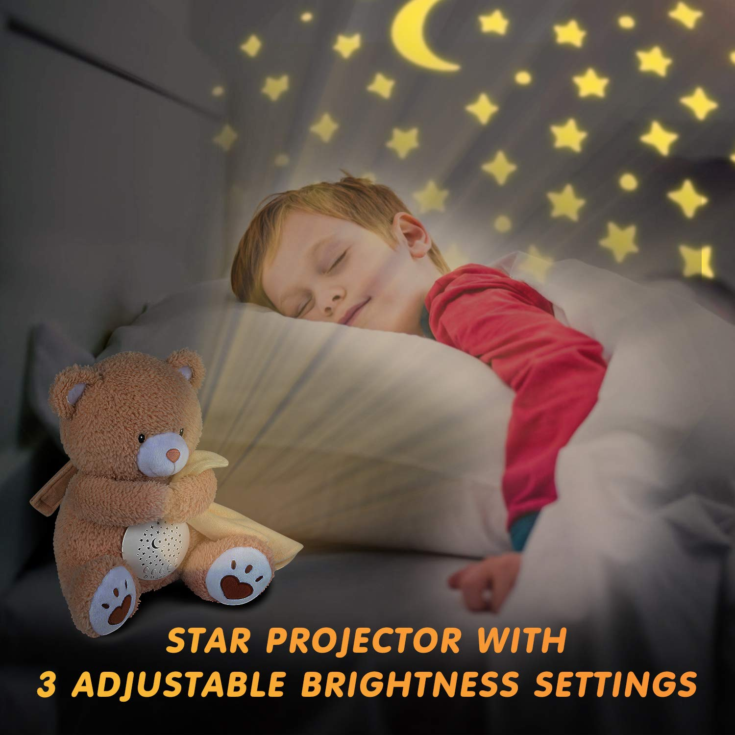 Nursery Decor Night Light Projector Toddler Crib Sleep Aid Lullabies /& Shusher White Noise Machine Sound Soother BEREST A11 Baby Sleep Soother Bear Baby Shower Gifts Portable Teddy Bear Toy