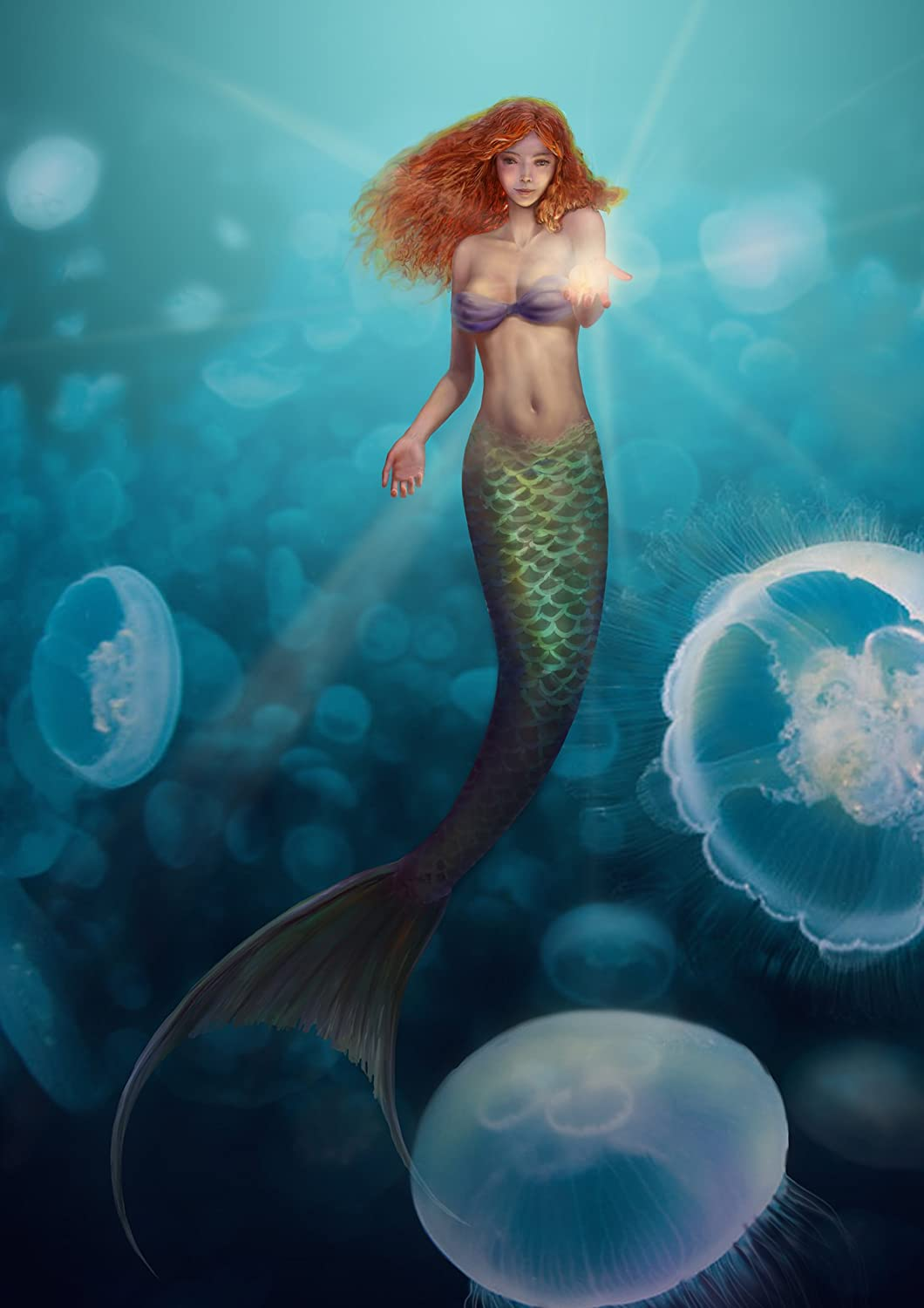Fantasy Mermaid Swimming To The Left Art