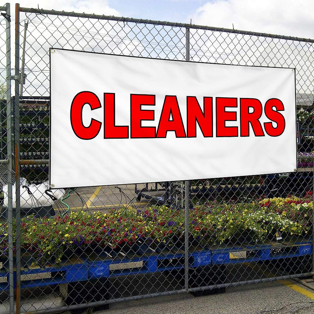 One Banner Multiple Sizes Available 44inx110in Vinyl Banner Sign Cleaners White Red Business Cleaners Marketing Advertising White 8 Grommets