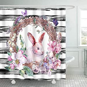 Cyncelia Fabric Shower Curtain Watercolor Happy Easter Wreath with Bunny Blossom Apple Tree Eggs Feathers Butterflies Botanical on Stripe Spring Vintage Durable Fiber Bathroom Curtain Set with Hooks