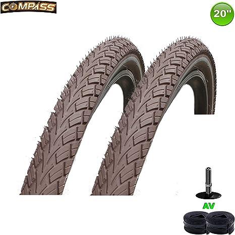 Compass 2X Neumáticos para Bicicleta 20 X 1.75 47-406 Marrón 2 ...