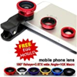 Universal Mobile Camera lens Clip-On 2 in 1 Kit, 180 Degree Fisheye Lens with free stainless steel egg mould inside gift.