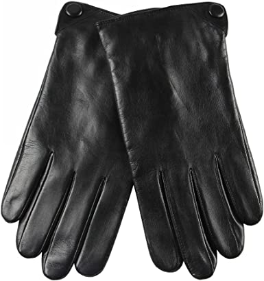 SALE----Men Stylish Warmer//Driving Lined Black Touch Screen Faux Leather Gloves