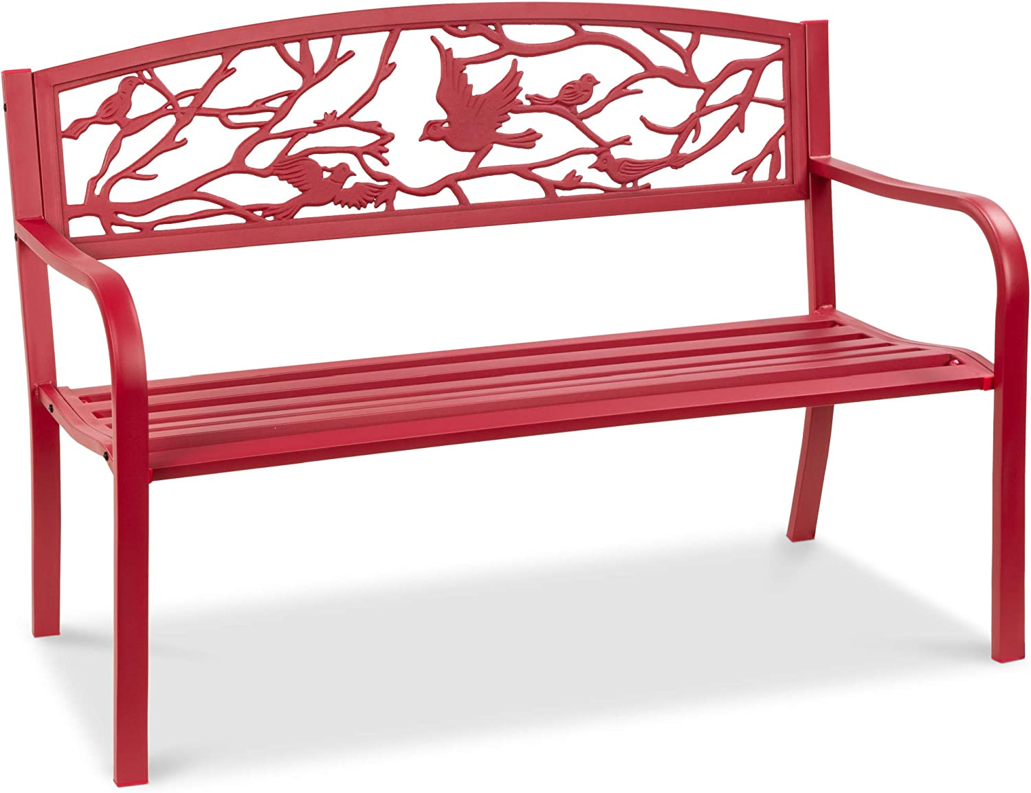 Best Choice Products Outdoor 8in Steel Park Bench Porch Chair Yard  Furniture w/Pastoral Bird Design Backrest, Slatted Seat - Red