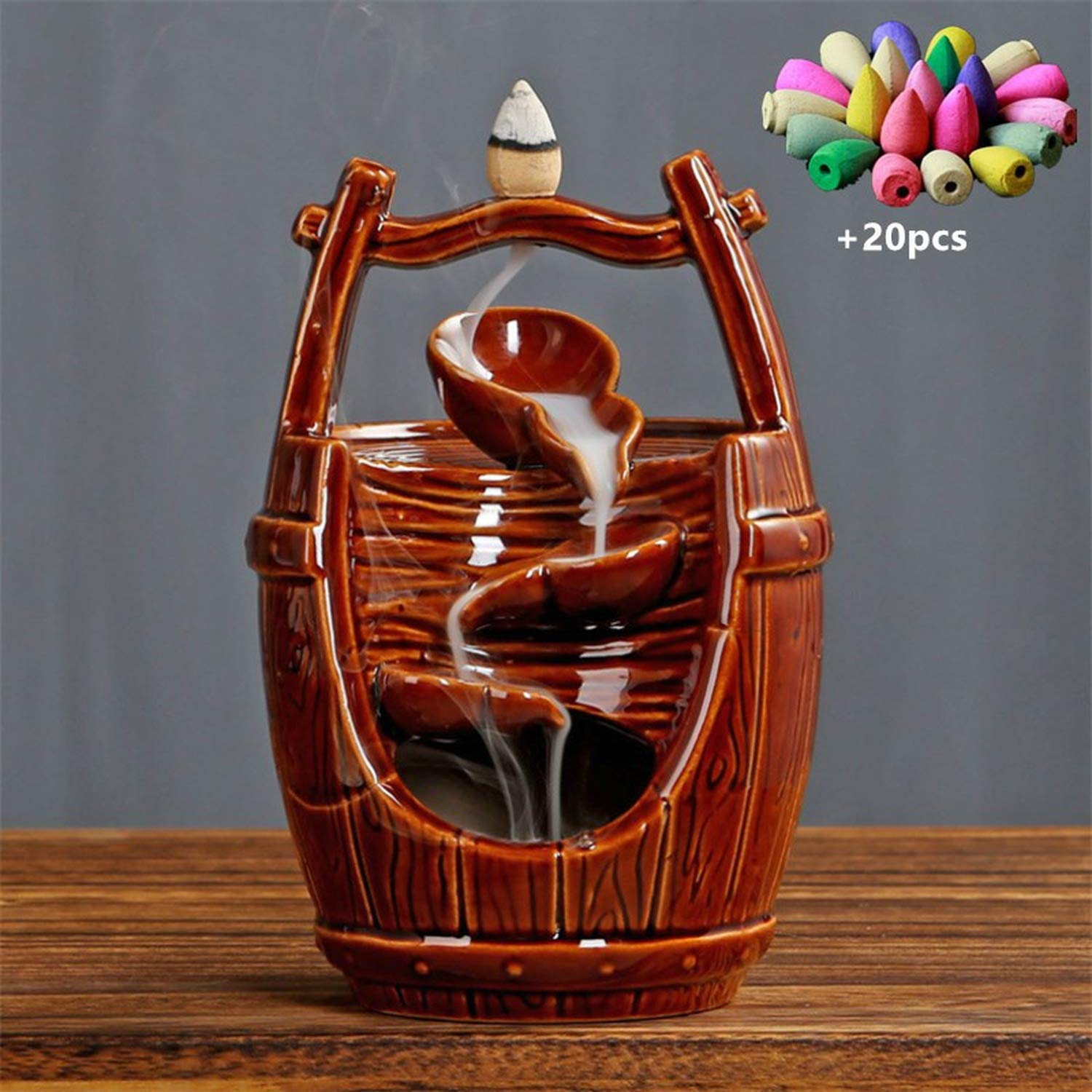 Ceramic Handicraft Ornaments Waterfall Backflow Incense Burner Home Office Decor Incense Censer Holder +20pcs Incense Cones,with 20pcs Mixed-B by Deep Palpitation incense holders (Image #3)