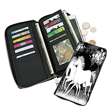 Horse racing leather card holder wallet