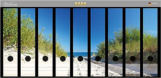 Wallario Ordnerrücken selbstklebend für 9 breite Ordner Sandweg zum Strand Meer