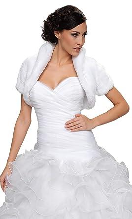 c43e91fd44033 OssaFashion-BridalWear Wedding Bridal Faux Fur Shrug Bolero Jacket Short  Sleeve Full Lined White