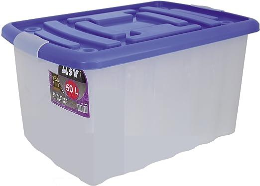 MSV Caja De Ordenacion 50L 60 X 40 X 30 Cm Azul 50 L: Amazon.es: Hogar