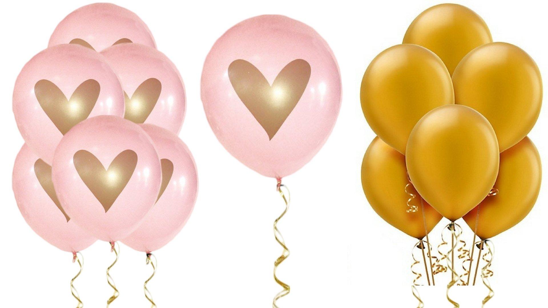 """BlankIt! Concepts Pink Gold Heart Balloons Love 12"""" Latex (No Ribbon)"""