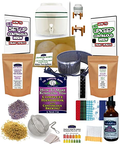 KKamp Continuous Brew Kombucha COMPLETE PACKAGE - Green Stripe w/Stand +  Essential Heat Strip