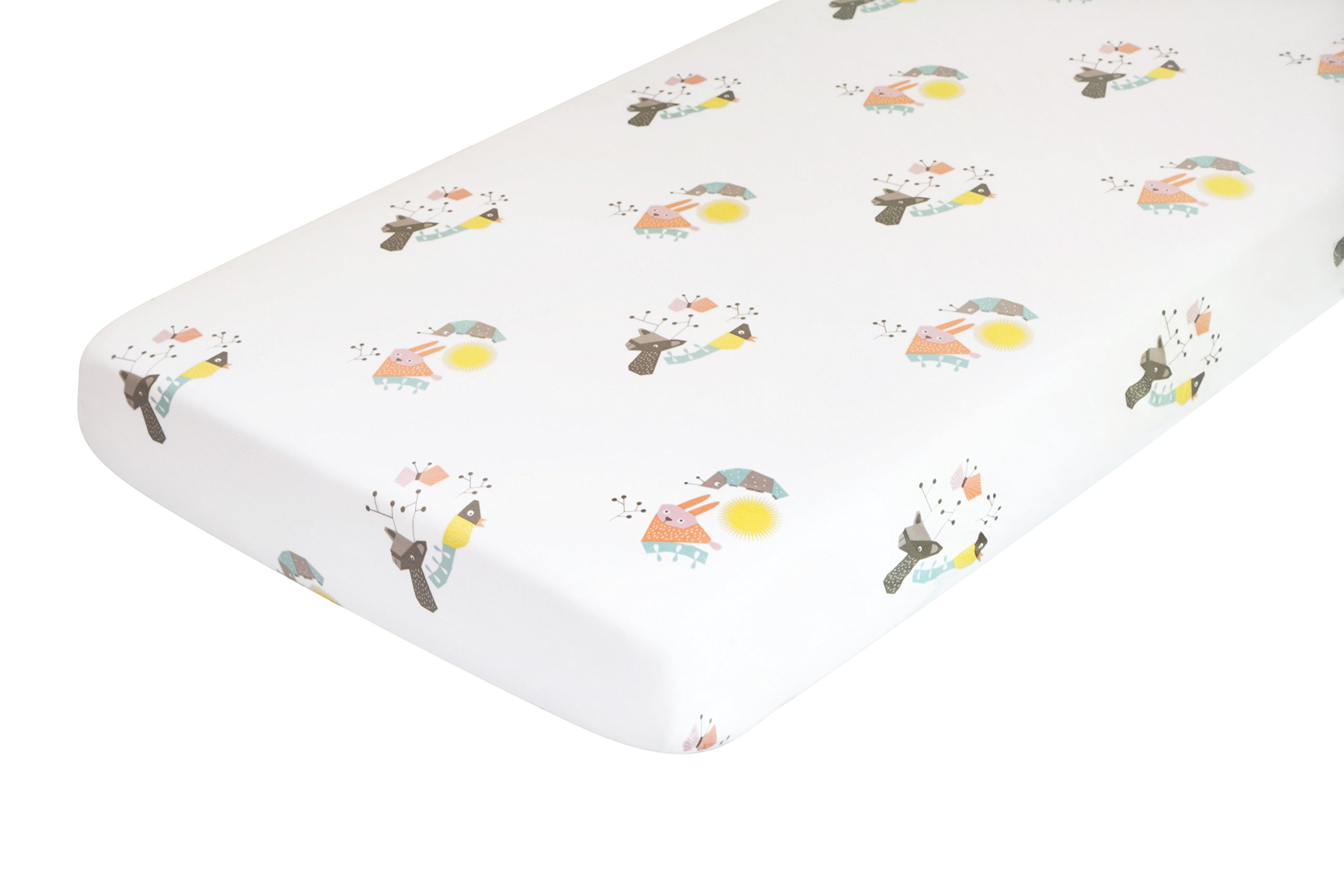 Nursery Works Menagerie Organic Cotton Percale Sheet, Forest Animals