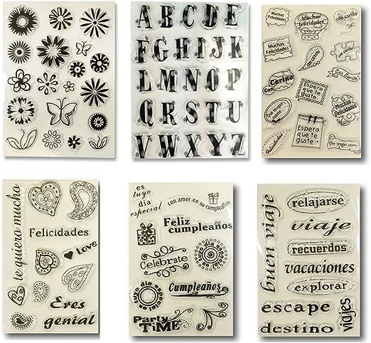 Pack de sellos de silicona, diseños variados, para scrapbooking, decoración: Amazon.es: Hogar