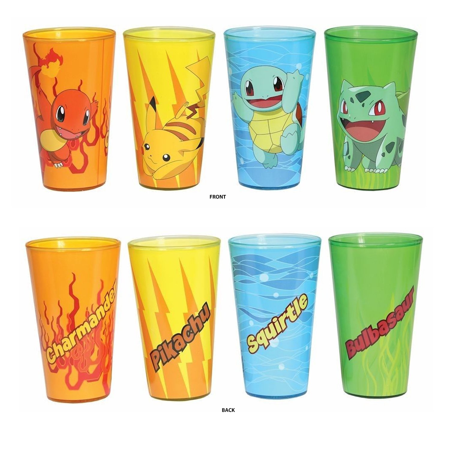 4 PACK Pokemon OFFICIAL Original 4 Starters - Charmander, Bulbasaur, Squirtle, Pikachu Pint Glass Set, 16oz Multicolored Just Funky SYNCHKG129033