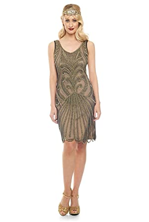 gatsbylady london Francesca Vintage Inspired Flapper Dress in Black Nude (US2 EU34)