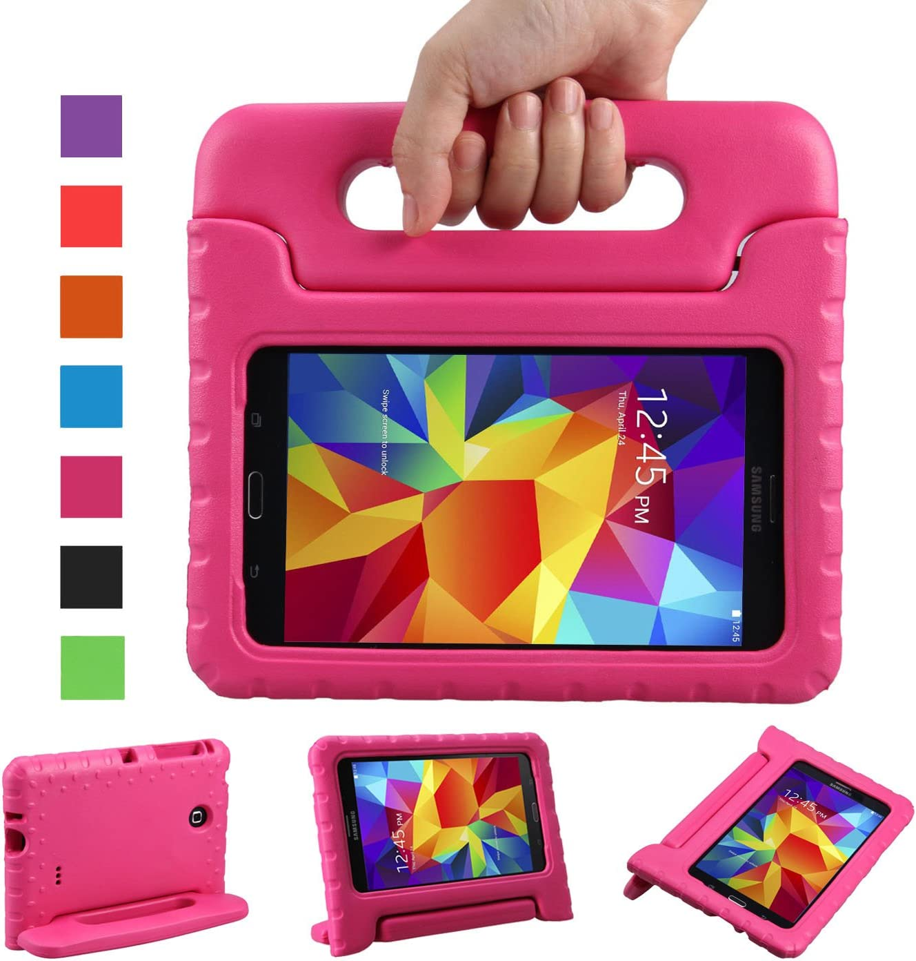NEWSTYLE PT-646 Shockproof Light Weight Protection Handle Stand Kids Case for Samsung Galaxy Tab 4 7-inch SM-T230, SM-T231, SM-T235 - Rose