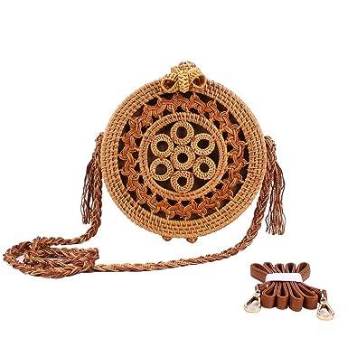Amazon.com: Sornean - Bolsa de ratán redonda tejida a mano ...