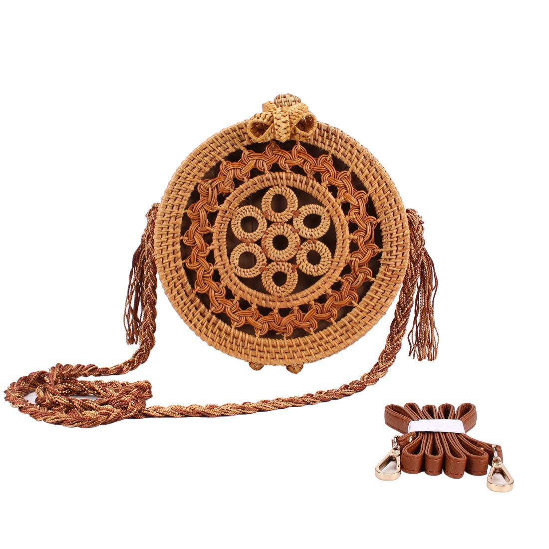 Sornean Handwoven Round Rattan Bag (Flower Weave), Round Bag, Straw Bag, Bali Bag with Rrpalceable Straps (Knitted Pattern)