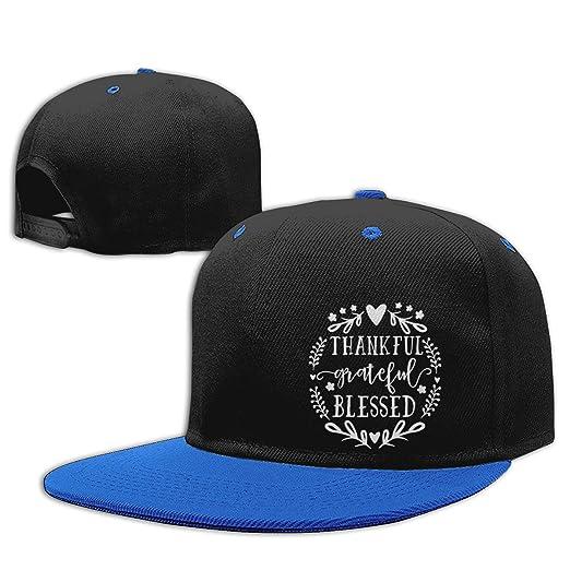 76b5ceefca162 Amazon.com  Tuoneng Flat Bill Blessed Contrast Color Hip Hop Baseball Cap  Blue 48  Clothing