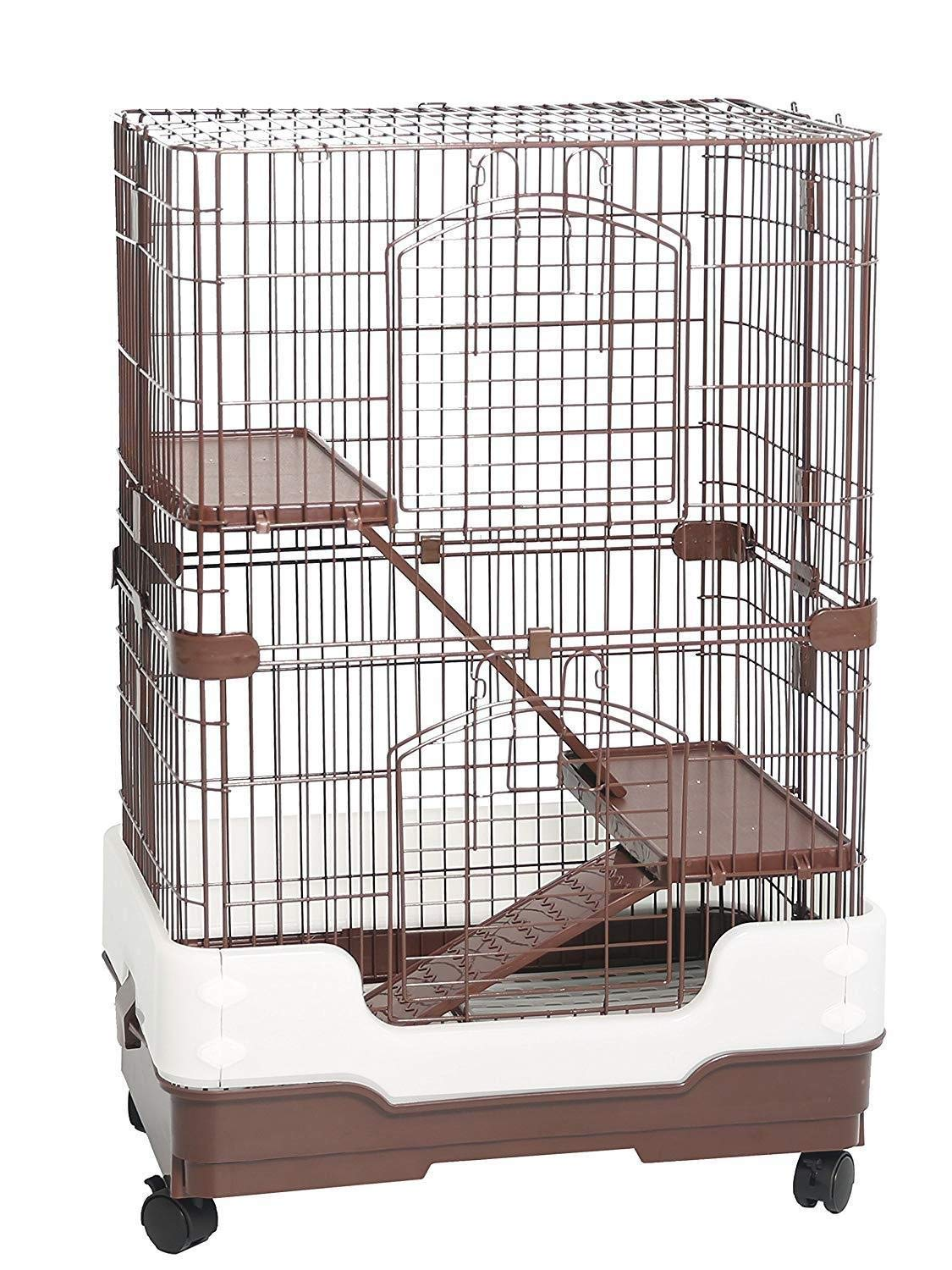Homey Pet 3 Tiers Chinchilla Hamster Rat Ferret Cage with Sleeping Platform, Pull Out Tray, Urine Guard and Lockable Casters, Brown, L26 x W17 x H38 by Homey Pet