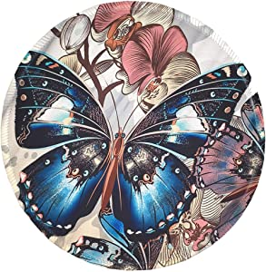 BOSOBO Mouse Pad, Round Butterfly Mouse Mat, Cute Mousepad with Designs, Small Non-Slip Rubber Mouse Pad with Stitched Edges, Customized Mouse Pad for Women Girls Office Computer Laptop Travel Working