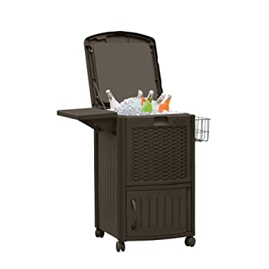 Suncast Wicker Outdoor Cooler with Wheels - Portable Outdoor Bar Cart to Store Ice, Drinks, and Frozen Treats - Store on Deck or Patio - Dark Brown