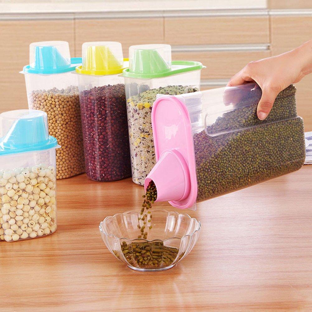 OUNONA R/écipient /à c/ér/éales avec bec verseur et tasse /à mesurer Stockage en plastique sans alcool pour c/ér/éales /à grains de riz Noix de sucre /à lavoine
