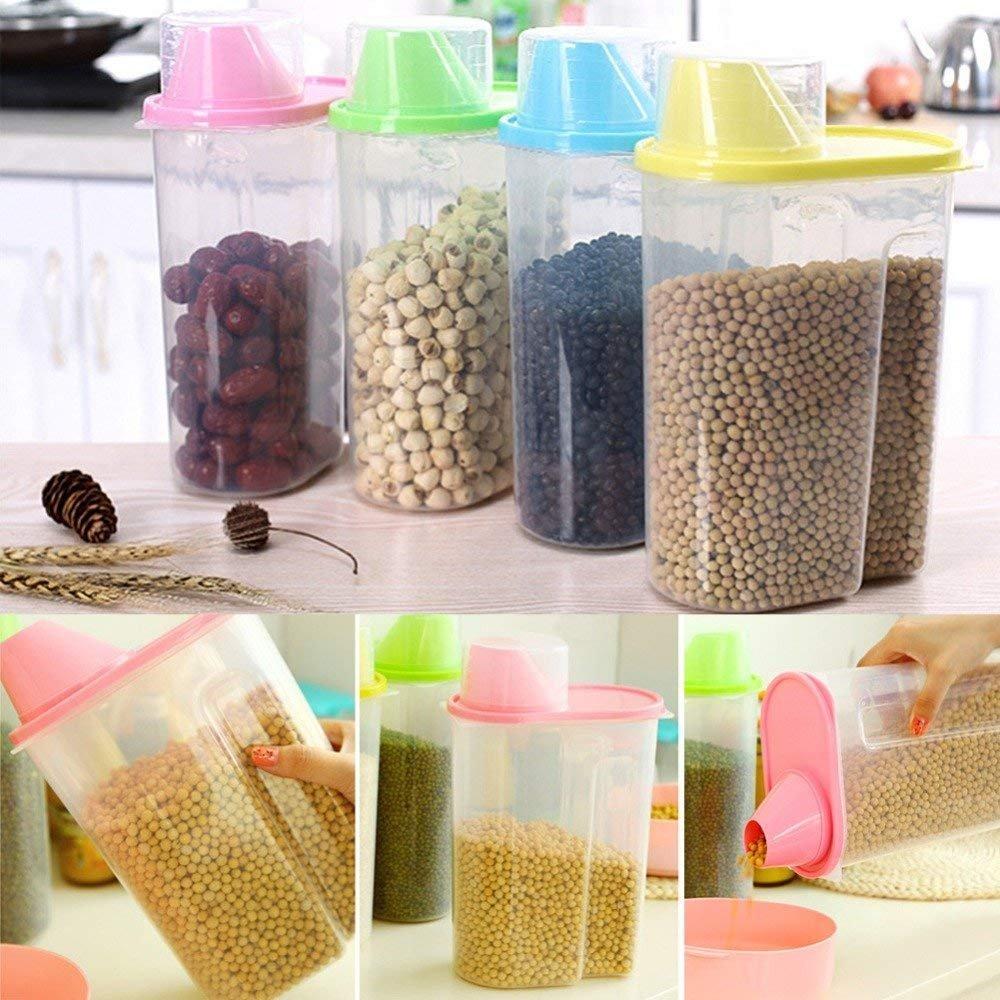 Grande capacità di plastica trasparente Dried food Cereal Storage dispenser contenitore Blue DWH FOREVER