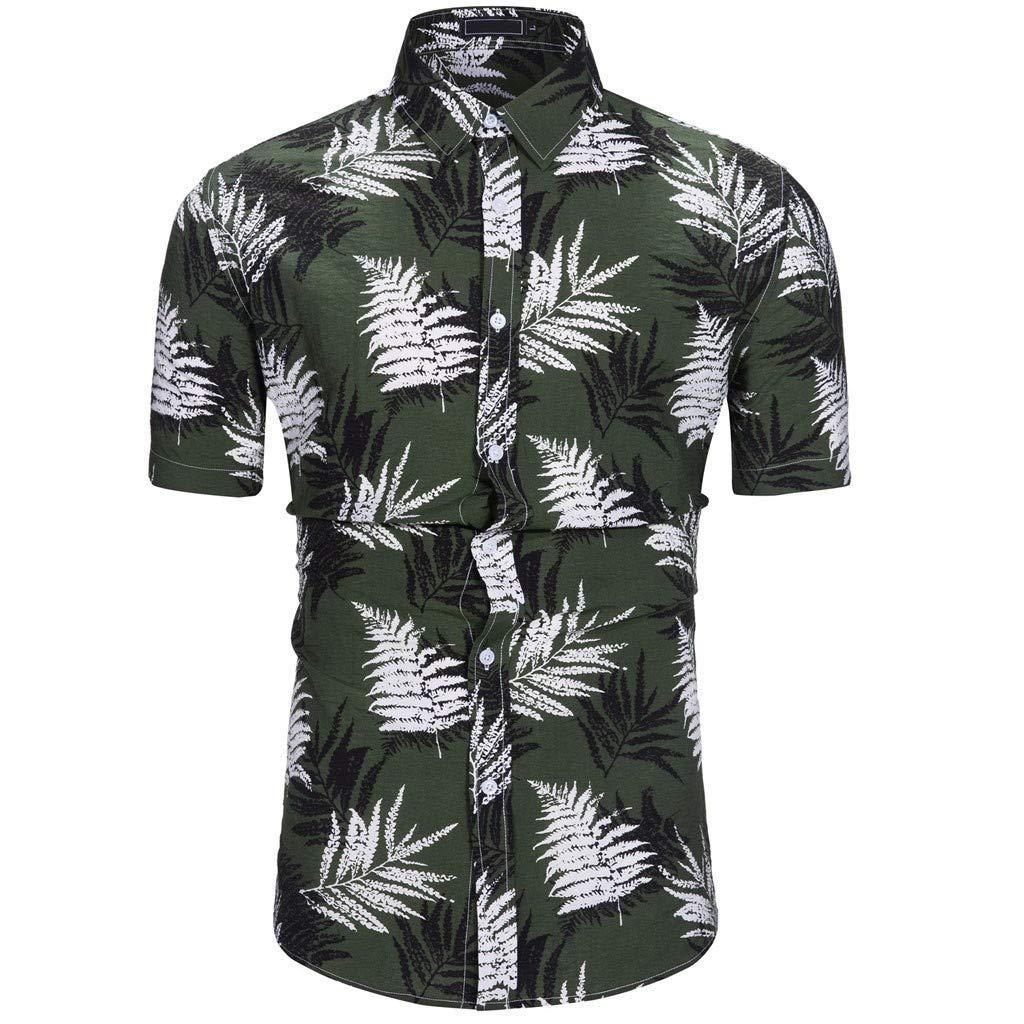 YOCheerful Mens Summer New Tops Maple Leaf Hawaiian Style Short-Sleeved Shirts
