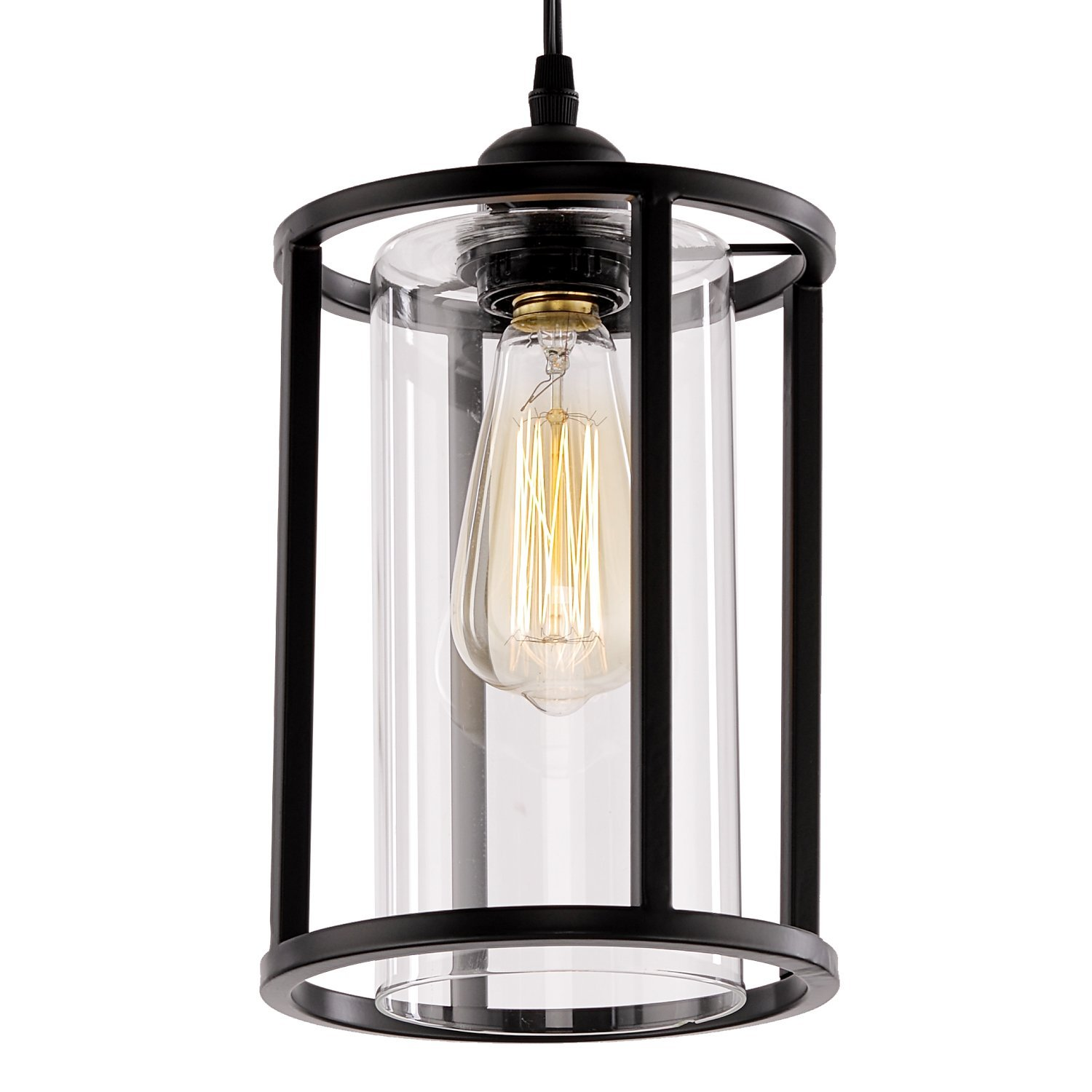 HMVPL Swag Hanging Lights with Plug in Cord and On/Off Dimmer Switch, New Transitional Pendant Lamps with Glass Lampshade for Dining Room, Bed Room