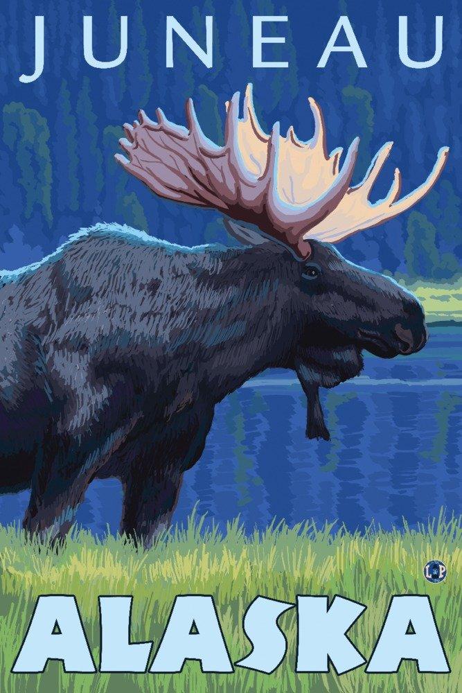 ムースat Night – ジュノー、アラスカ 36 x 54 Giclee Print LANT-14226-36x54 36 x 54 Giclee Print  B017E9TO6K