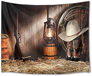 HVEST Cowboy Tapestry Vintage Boots Lantern and Gun on Straw in Rustic Wood Barn Wall Hanging American Western Culture Tapestries for Bedroom Living Room Dorm Party Wall Decor,60Wx40H inches
