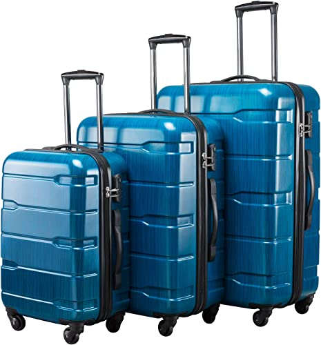 Seanshow Luggage 3 Piece Set PC ABS Lightweight Spinner Suitcase Set 20 24 28 Blue-new