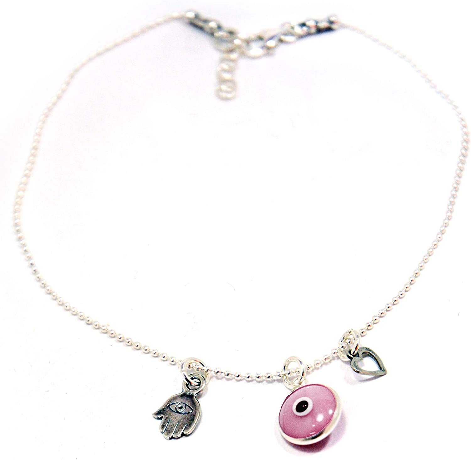 Sterling Silver Pink Evil Eye, Hamsa Hand & Heart Charms Silver Anklet for Women - 9.5 Inches Length