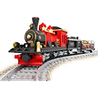 Bestoyz Classic Vintage Steam Coal & Wood Transporter Building Bricks Set, Collectible Old Aged Railroad Trains Track Kit Toys for Kids (410PCS)