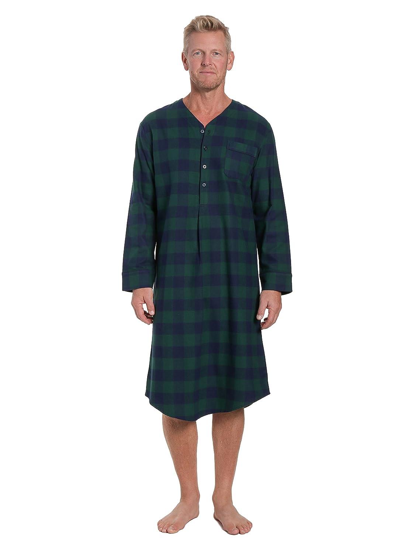 Noble Mount Mens 100/% Cotton Flannel Nightshirt