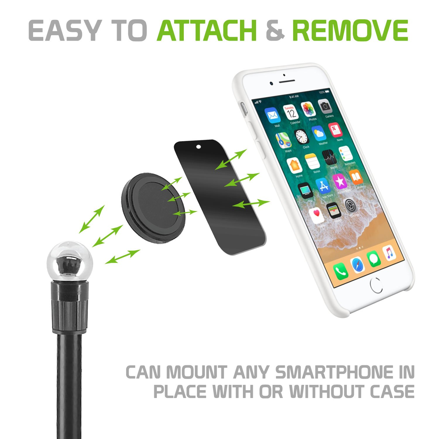 Magnetic Phone Mount,Washable Strong Sticky Gel Pad with Quick Snap Magnet for Windshield or Dashboard Car Phone Holder for iPhone X//8//8Plus//7//7Plus//6s//6Plus Galaxy Note 8. Galaxy S8//S8 Plus