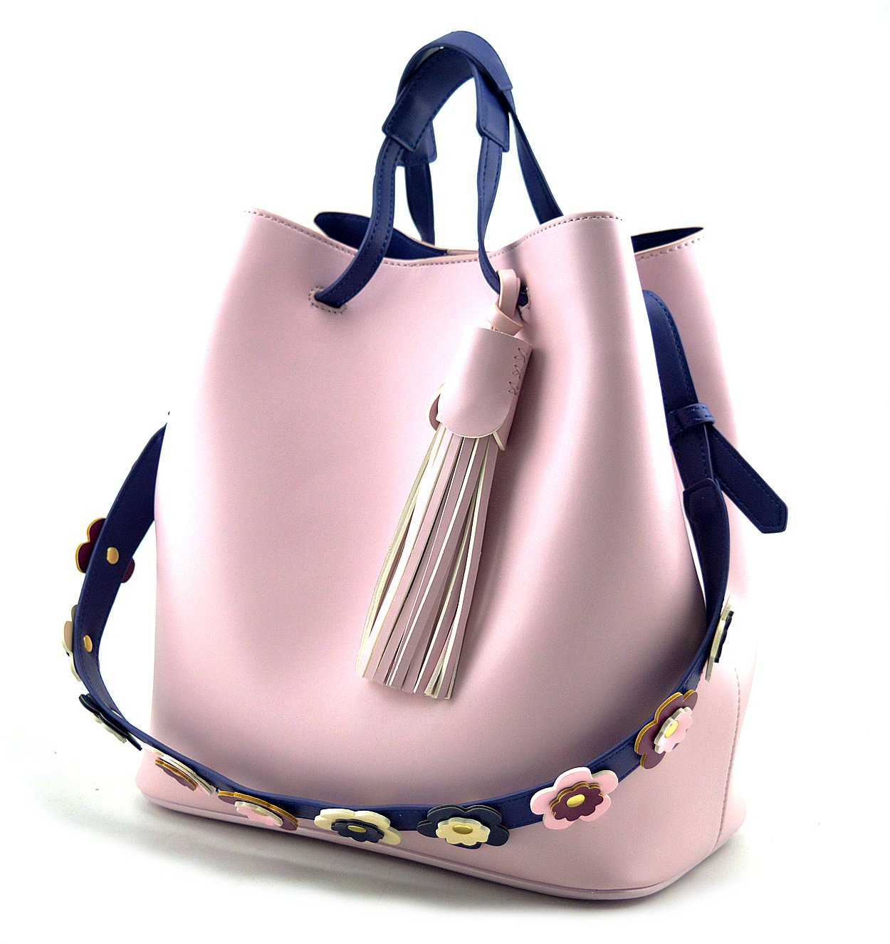 Mn&Sue Stylish Tassel Drawstring Bucket Hobo Lady Purse Casual Shoulder Tote Bag Set with Flower Strap (Pink)