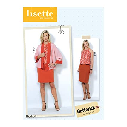 b6a7c2a95 Amazon.com: Butterick Patterns B6464 A5 Misses' Banded Jacket, Notch-Neck  Top and Pencil Skirts by Lisette, Size 6-14 (6464): Home & Kitchen