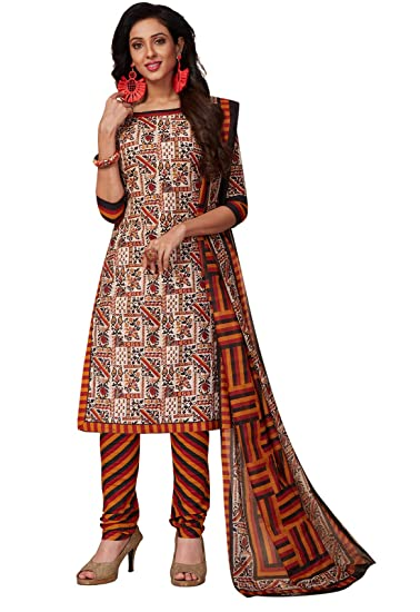 8019055aca Ishin Women's Cotton White Printed Unstitched Salwar Suits dress material  with Dupatta: Amazon.in: Clothing & Accessories