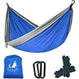 Beaublock Outfitters Double Camping Hammock | Lightweight Nylon Portable Hammock with 2 Adjustable Hanging Straps for Camping Backpacking Travel Beach Yard (275 x 140cm, Supports Up To 300kg)