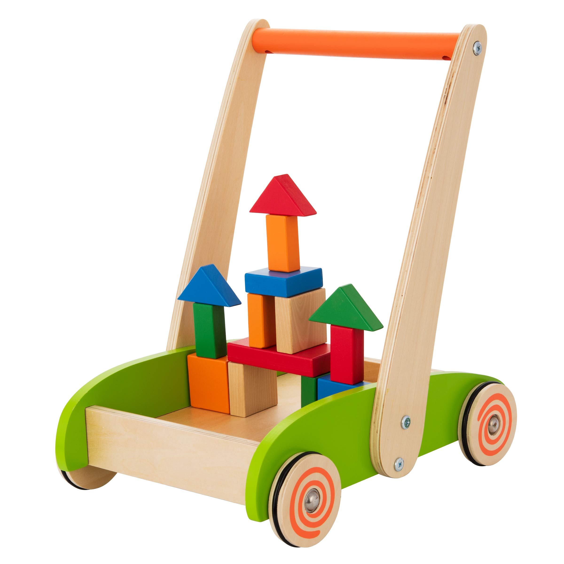 Wooden Baby Learning Toy Walker Toys for 1 Year Old Toddler Push & Pull Walking Toy Colorful Building Blocks Included Stimulates Creativity & Motor Skills Practical Rubber Protects Floors