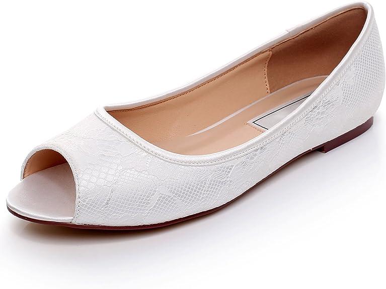 YOOZIRI Ivory Flat Shoes Satin Wedding